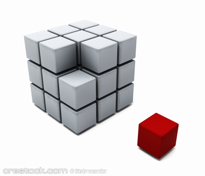 3D render of a cube of blocks with one red blo...